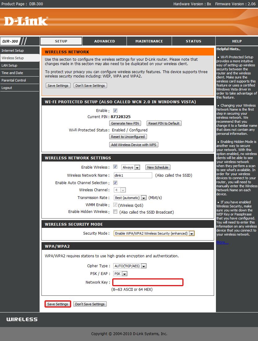 В поле Security Mode выбираем Enadle WPA/WPA2 Wireless Security